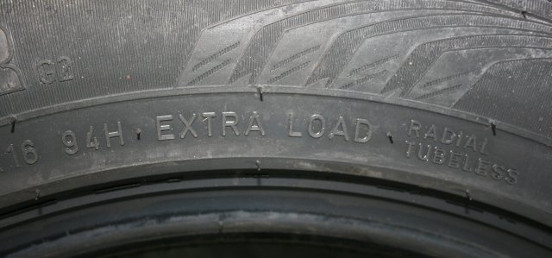 Reinforced tyre with Extra Load marking